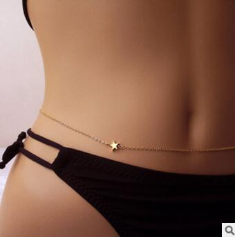 hot sales jewelry simple five-pointed star ladies body bikini waist chain