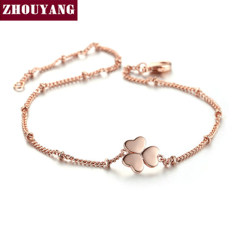 Triple Heart Clover Charming Bracelet Rose Gold Color Jewelry