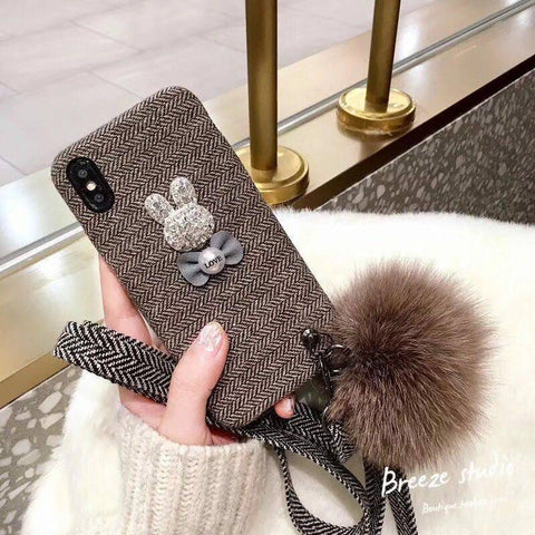 3D Rabbit phone cases For iPhone X 8 8plus 7 7Plus 6 6plus sweet style cases for iPlush pendant