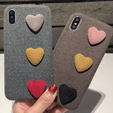 2018 new arrival fashion cute 3D wool love colorful heart for  iphone 6 6s plus 7 7P 8 8P X soft mobile phone case