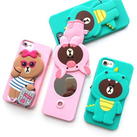 Cute 3D Cartoon Fashion Silicone Mirror Phone Case Cover for iPhone X 6 6S 7 8 Plus X