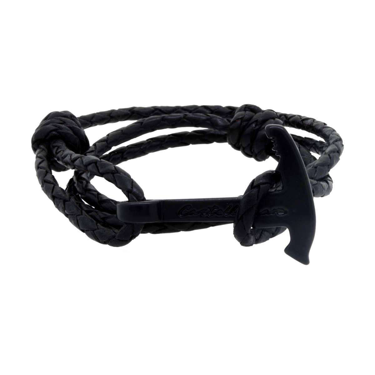 Pulsera - Gaeta Piolet Black Braided Leather BK