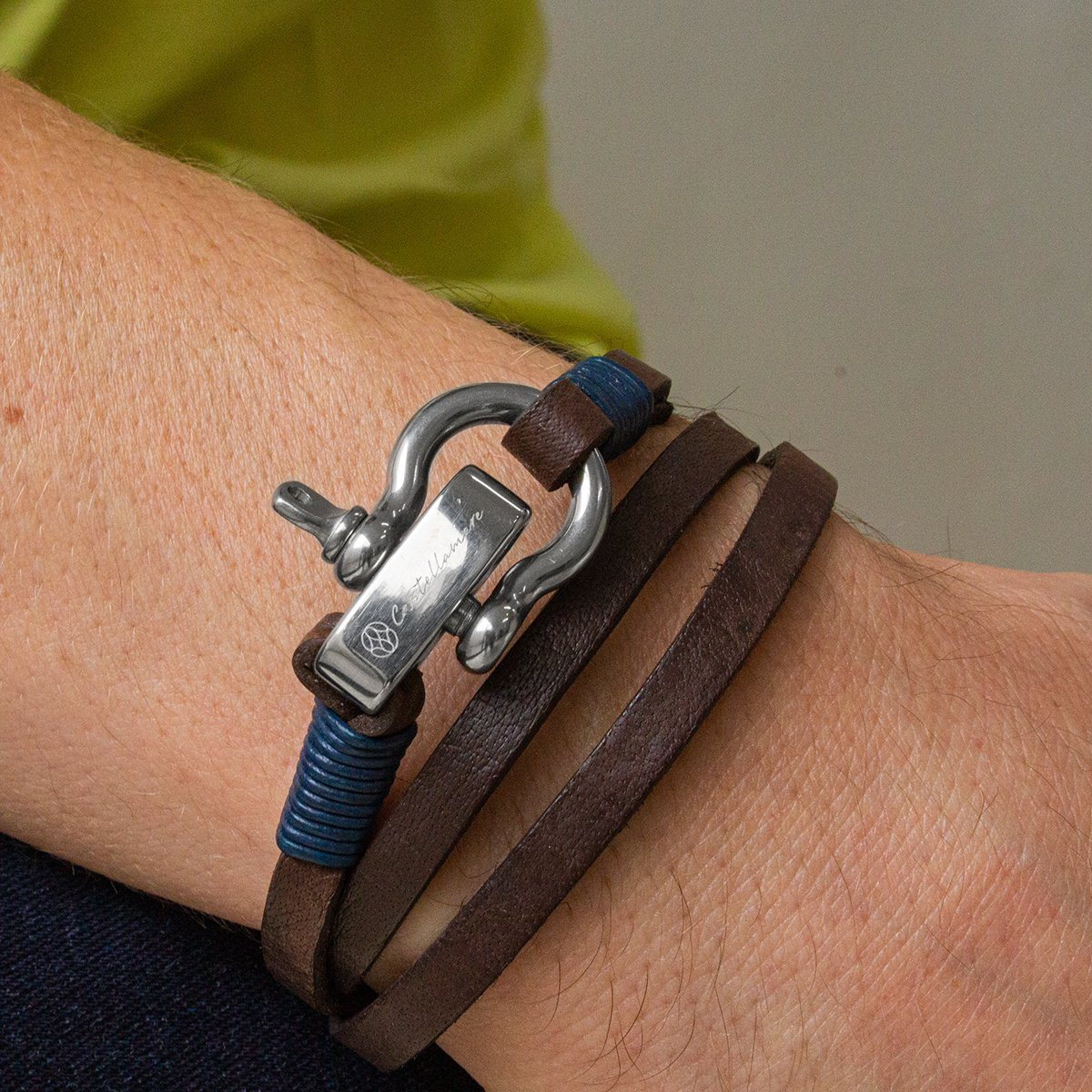 Pulsera - Lucca Brown Blue SM Stainless Steel