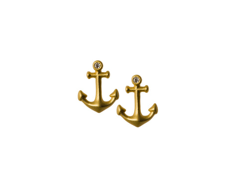 Anchor Stud Earrings with Diamonds