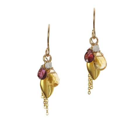 Leaf Cluster Gold Earrings