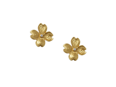 Dogwood Stud Earrings with Diamonds