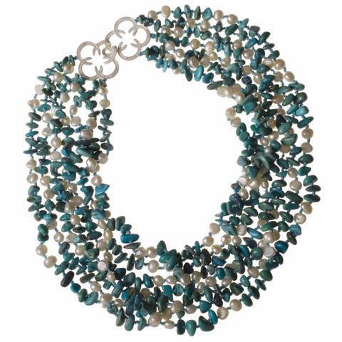 Horseshoe Turquoise and Pearl Necklace