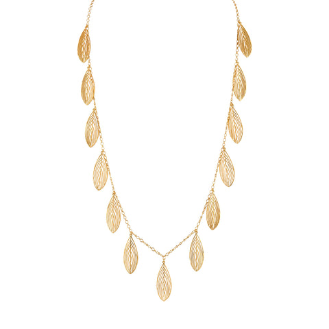 Gold Open Leaf Necklace