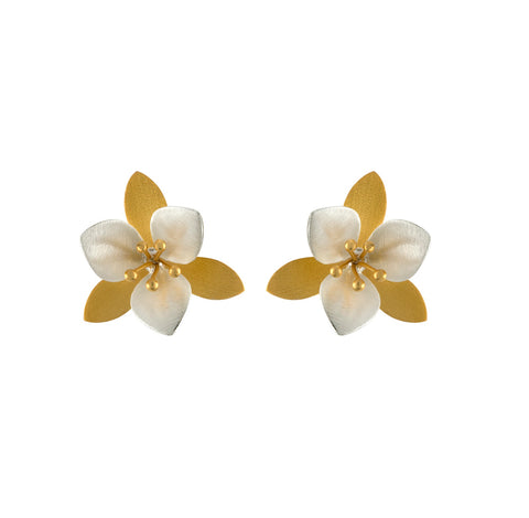 Two-Tone Flower Post Earring