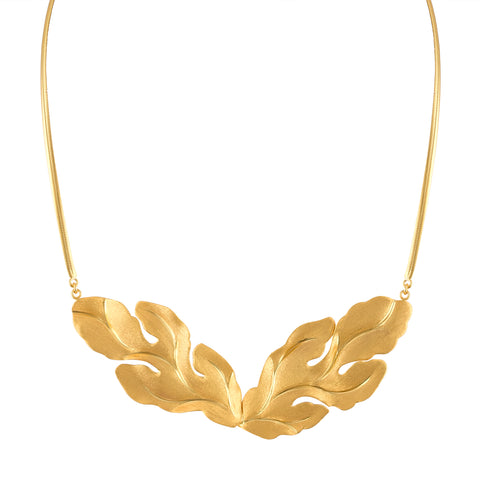 Gold Large Leaf Necklace