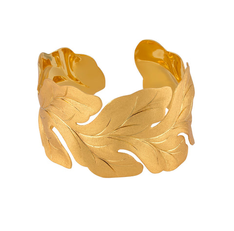 Gold Large Leaf Cuff Bracelet