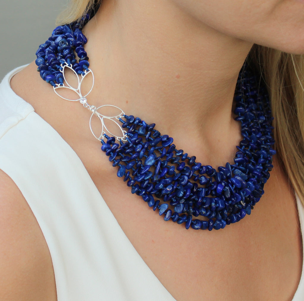 Winter Blossom Necklace with Lapis