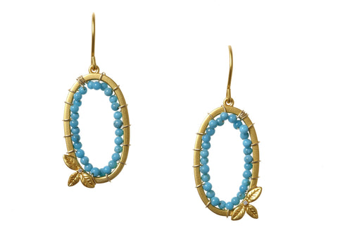 Oval Earrings with Stones and Diamonds