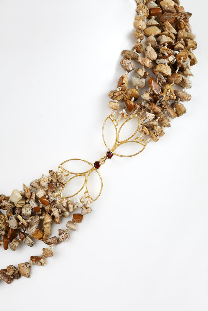 Winter Blossom Necklace with Jasper and Pearls