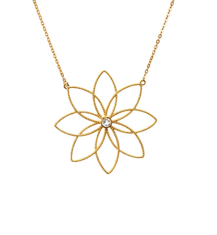Winter Blossom Gold Necklace with White Topaz