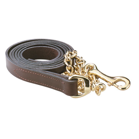 1 inch Havana Leather Lead with Chain