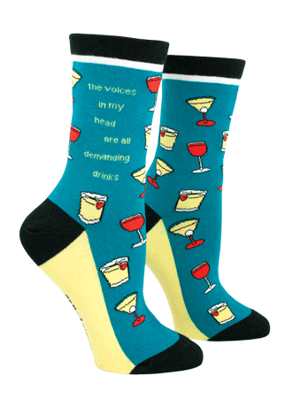"""The Voices in My Head are All Demanding Drinks"" Women's Socks"