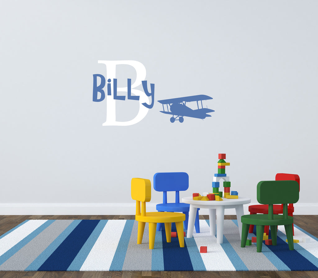 Custom Child's Name with Icon Wall Decal