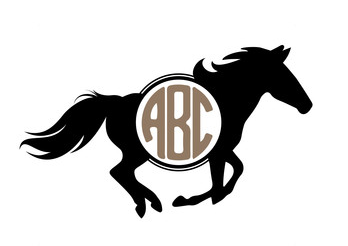 Running Horse Monogram Decal