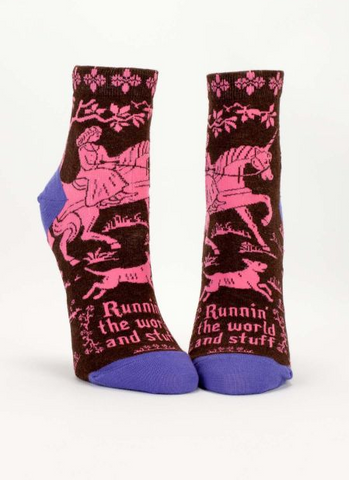 """Runnin' the World and Stuff"" Women's Ankle Socks"