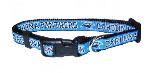 Carolina Panthers Dog Collar with Ribbon Trim
