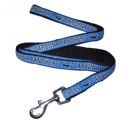 Carolina Panthers Dog Leash with Ribbon Trim