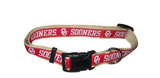 Oklahoma Sooners Dog Collar with Ribbon Trim