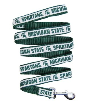Michigan State Dog Leash with Ribbon Trim