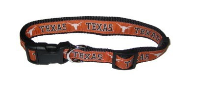 Texas Longhorns Dog Collar with Ribbon Trim