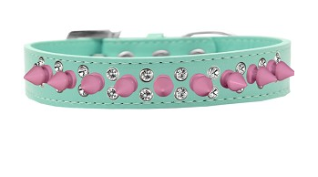 Double Crystal and Light Pink Spikes Dog Collar