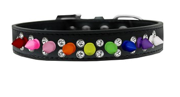 Double Crystal with Rainbow Spikes Dog Collar