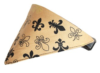 Black & Gold Fleur De Lis Bandana Pet Collar