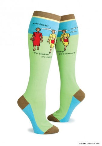 """Walk Faster...The Children are Catching Up"" Knee Socks"