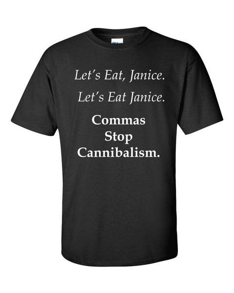 Commas Stop Cannibalism short sleeve t-shirt