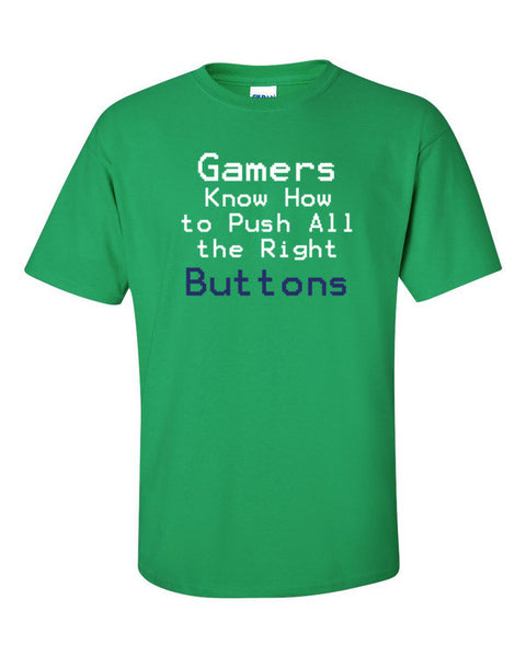 Gamers Know How To Push All the Right Buttons - Sony Blue - Short sleeve t-shirt