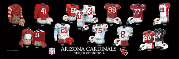 NFL poster that shows the evolution of the Arizona Cardinals uniform.