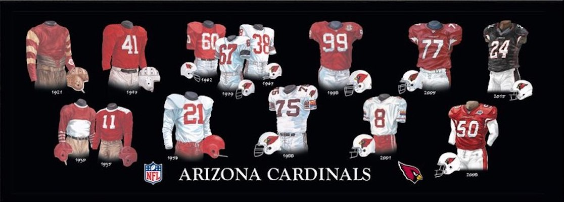 Arizona Cardinals uniform evolution poster