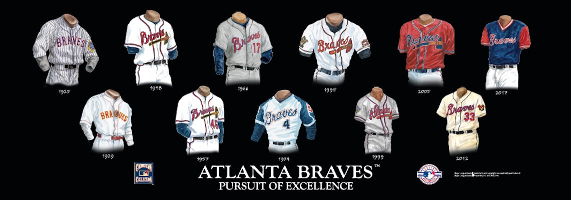 Atlanta Braves uniform evolution poster