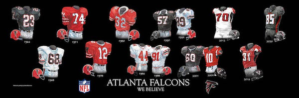 NFL poster that shows the evolution of the Atlanta Falcons uniform.