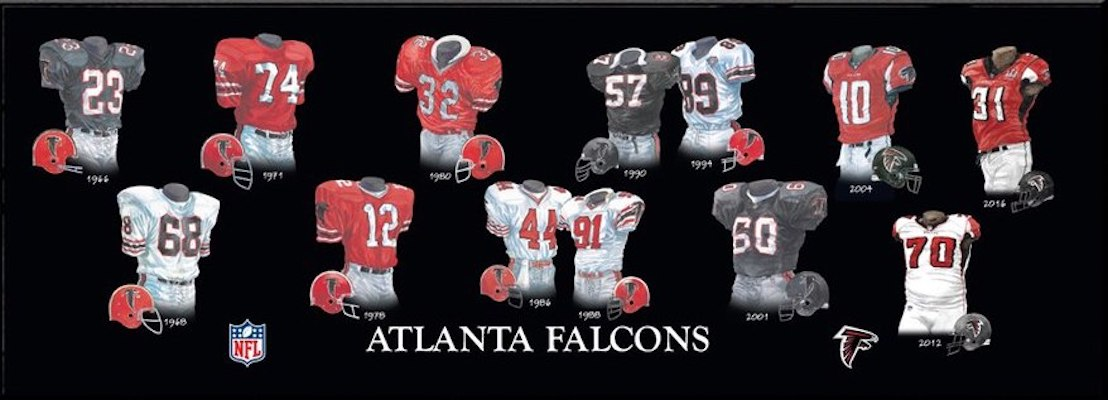 Atlanta Falcons uniform evolution poster