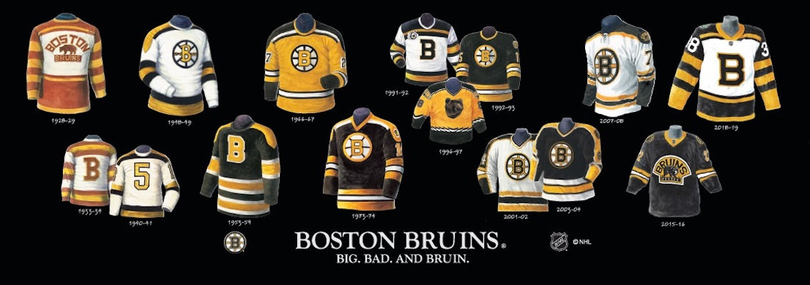 Boston Bruins jersey uniform evolution poster
