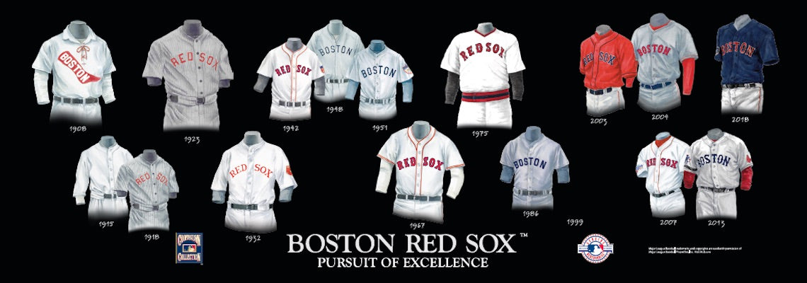 Boston Red Sox uniform evolution poster