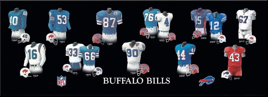 Buffalo Bils uniform evolution poster