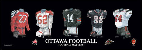 Ottawa CFL Football uniform evolution poster