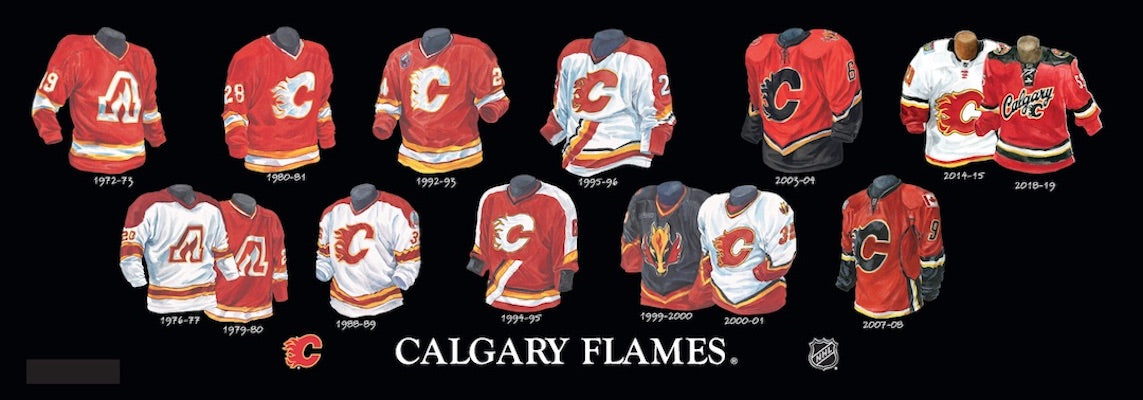 Calgary Flames jersey uniform evolution poster
