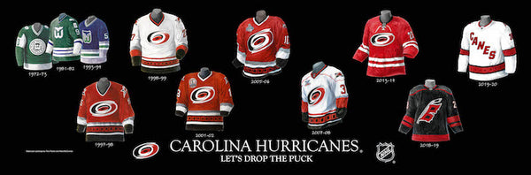 NHL poster that shows the evolution of the Carolina Hurricanes jersey.