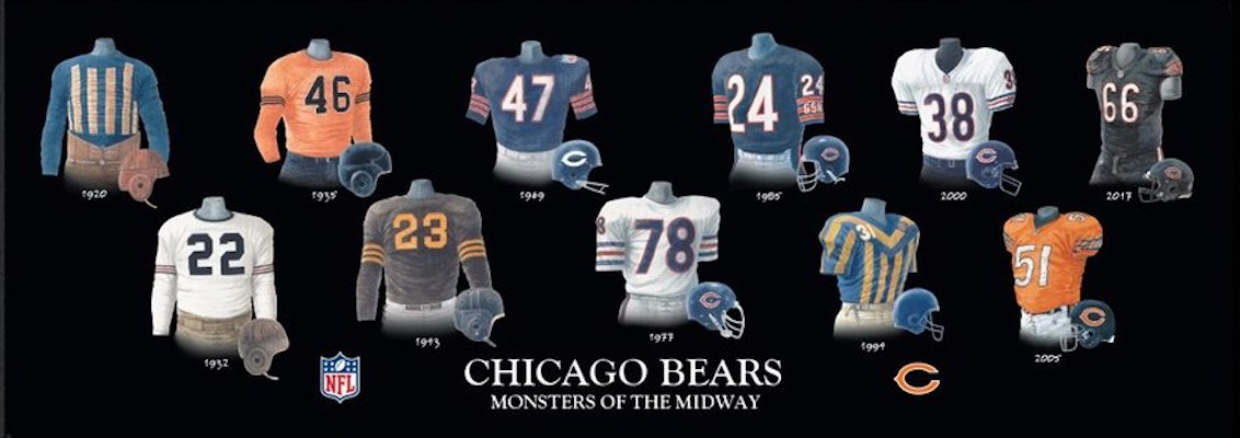 Chicago Bears uniform evolution poster