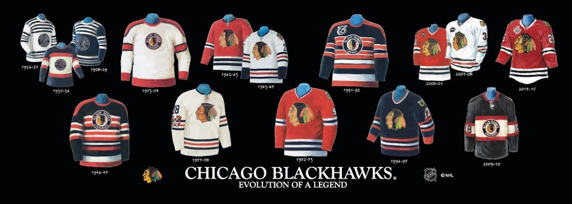 Chicago Blackhawks jersey uniform evolution poster