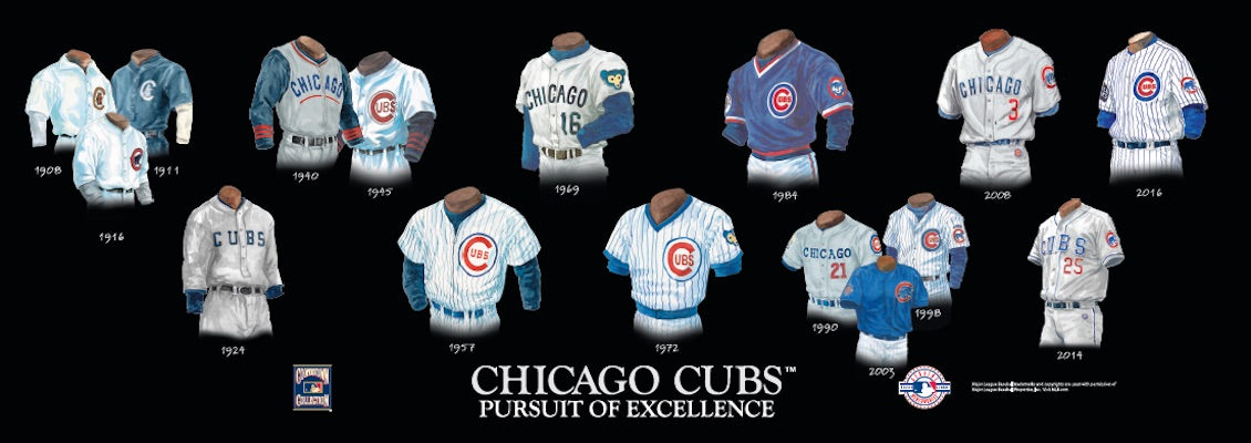 Chicago Cubs uniform evolution poster