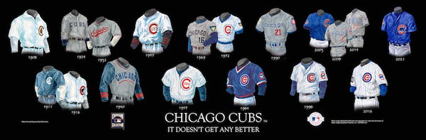 MLB poster that shows the evolution of the Chicago Cubs uniform.